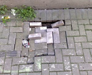 collapsed-pavement-Owl Pest Control Ireland